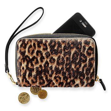 Leopard Zip Wristlet, Black and Tan