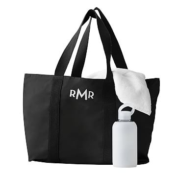 The Club Tote Bag, Black with Gray Lining