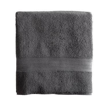 Set of 4 Turkish Hydro Cotton Bath Towels, Steel Gray