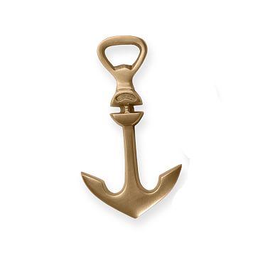 Anchor Bottle Opener, Antique Brass