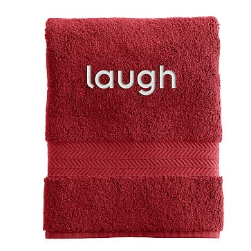 Turkish Hydro Cotton Hand Towel, Red - Personalized