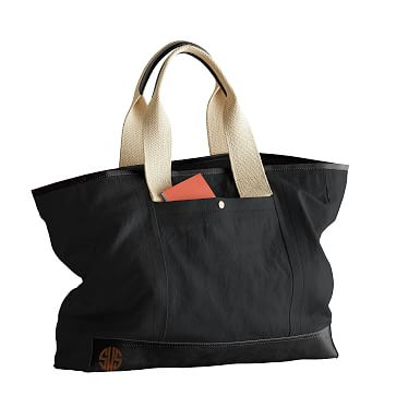 Canvas with Leather Tote Bag, Black