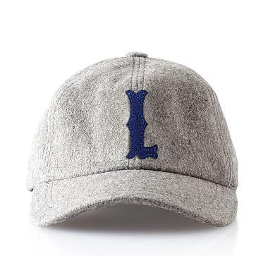 Wool Initial Baseball Ball Cap, Gray, L