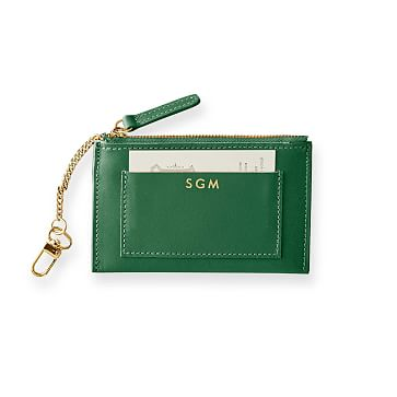 Westbury Leather Zip Card Case, Racing Green