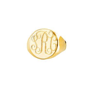 Homme Signet Ring, Size 10, Solid 14 Karat Gold