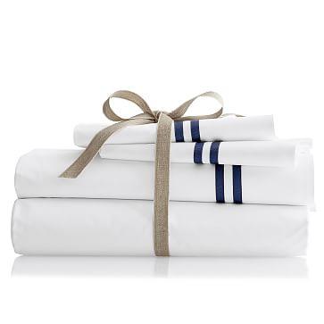 Italian Double Ribbon Pillow Case Set, King, Navy