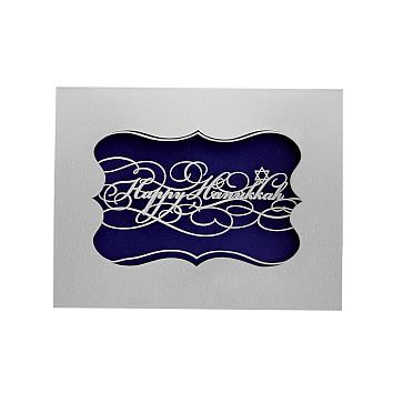 Set of 3 Laser Calligraphy Card Set, Happy Hanukkah, Silver Card with Blue