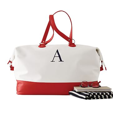 Colorfield Duffel, White with Red
