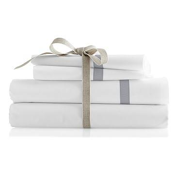 Italian Hemstitched Grosgrain Pillow Case Set, King, Cloud