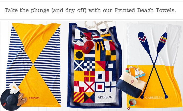 Take the plunge {and dry off} with our Printed Beach Towels.