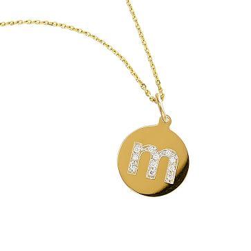 Diamond Sienna Necklace, 14 Karat Gold, Lower Case Letter, 16