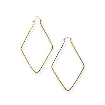 Brass Diamond Hoop Earrings, Brass and 14 karat gold