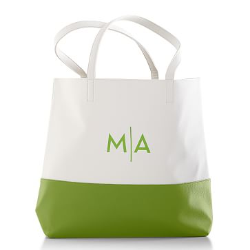 Colorfield Tote Bag, White with Apple Green