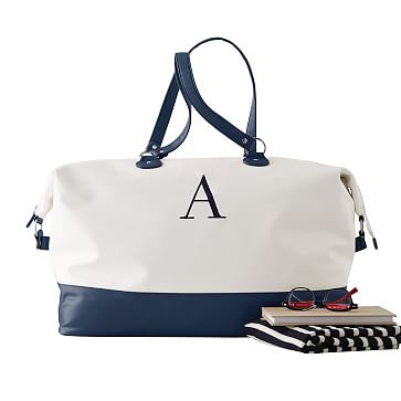 Colorfield Duffel, White with Navy
