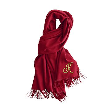 Alpaca Solid Scarf Wrap with Fringe, Red