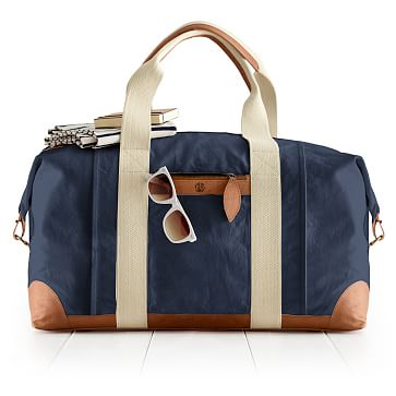 Canvas and Leather Weekender Bag, Navy and Brown
