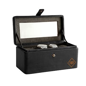 Rustic Leather 4-Slot Watch Box, Black