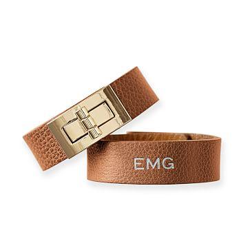 Leather Turnlock Bracelet, Small-Medium, Tan