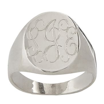 Classic Oval Signet Ring, Size 6, Sterling Silver