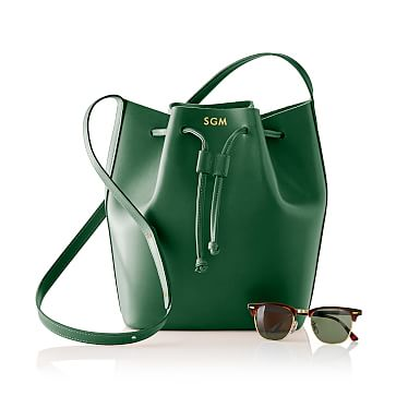 Westbury Leather Bucket Bag, Racing Green
