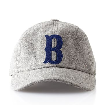 Wool Initial Baseball Ball Cap, Gray, B