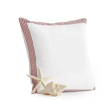 Beachport Stripe Pillow Cover, White with Red Ribbon