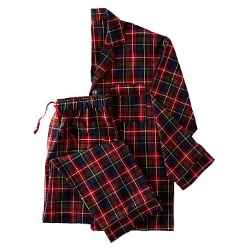 Classic Men's Plaid Flannel Pajamas, Extra-Large, Red Plaid