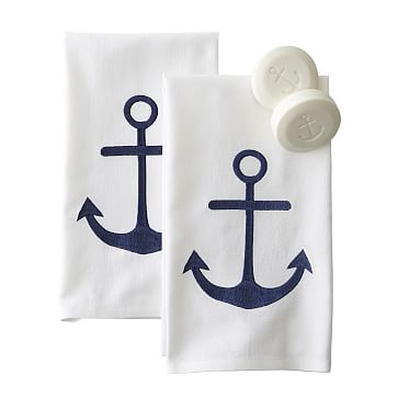 Anchor Guest Towels, White, Set of 2