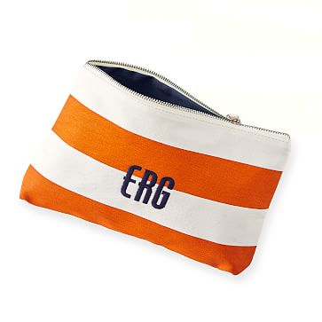 Lido Cosmetics Bag, Orange with Navy Lining