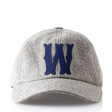Wool Initial Baseball Ball Cap, Gray, W