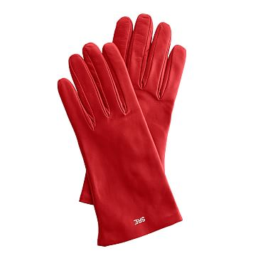Women's Italian Leather Classic Glove, Size 6.5, Extra-Small, Red