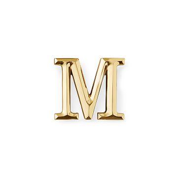 4-inch Initial Door Knocker, Brass, M