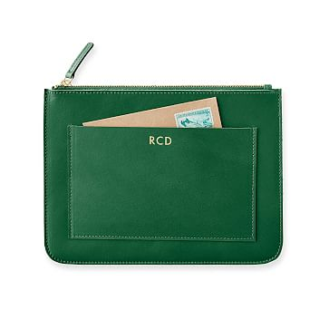 Westbury Leather Zip Pouch, Racing Green