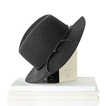 Wool Fedora Hat, Size Large, Pewter