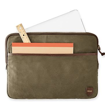 Waxed Canvas Laptop Sleeve, Olive and Cognac