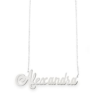 Ava Script Necklace, Sterling Silver