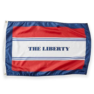 Personalized Nylon Flag, 2 feet x 3 feet, Stripe, Red and Navy
