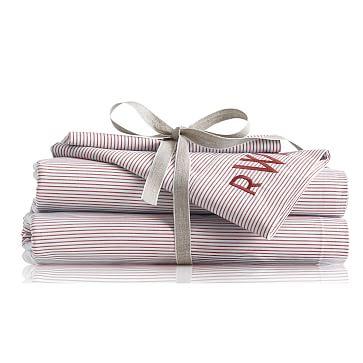 Beachport Pinstripe Sheet Set, Full, White and Red