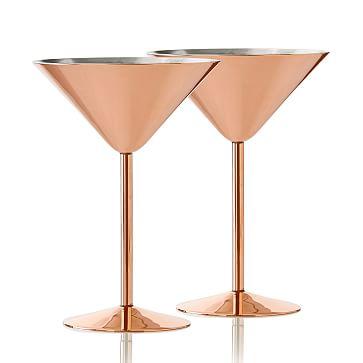 Copper Martini Glass, Set of 2