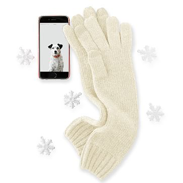 Chunky Knit Long Gloves One Size, Ivory