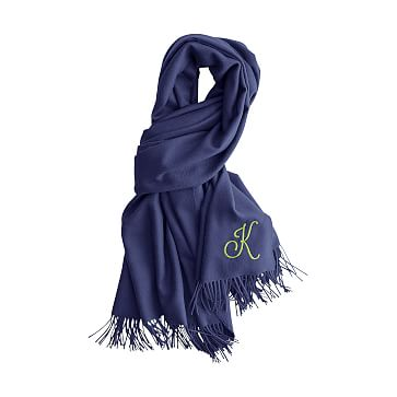 Alpaca Solid Scarf Wrap with Fringe, Navy