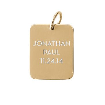 The Legacy Charm, Gold Rectangle, Large, 3 Lines, Personalized