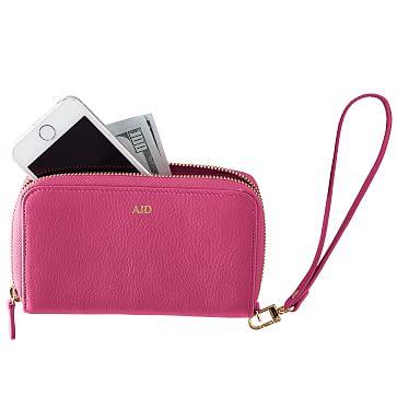 Leather Zip Wristlet Clutch Wallet, Magenta