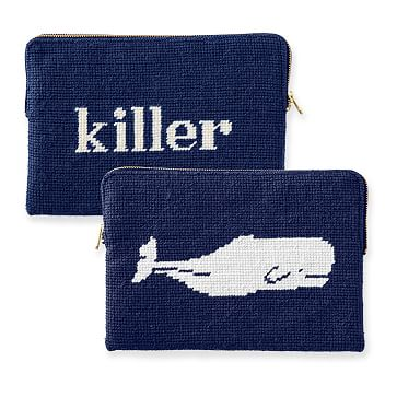 Needlepoint Zip Pouch, Navy, Killer Whale