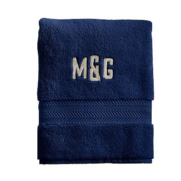 Turkish Hydro Cotton Hand Towel, Navy - Monogrammed