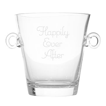 Classic Handblown Ice Bucket with Handles, Clear Glass - Personalized with 3 lines