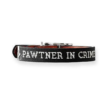 Needlepoint Dog Collar, Pawtner In Crime Black, Small-Medium
