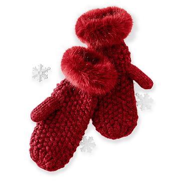Chunky Knit Mitten with Fur, Red