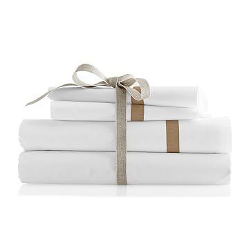 Italian Hemstitched Grosgrain Pillow Case Set, King, Bone - Monogrammed