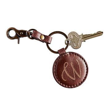 Circular Italian Leather Key Fob